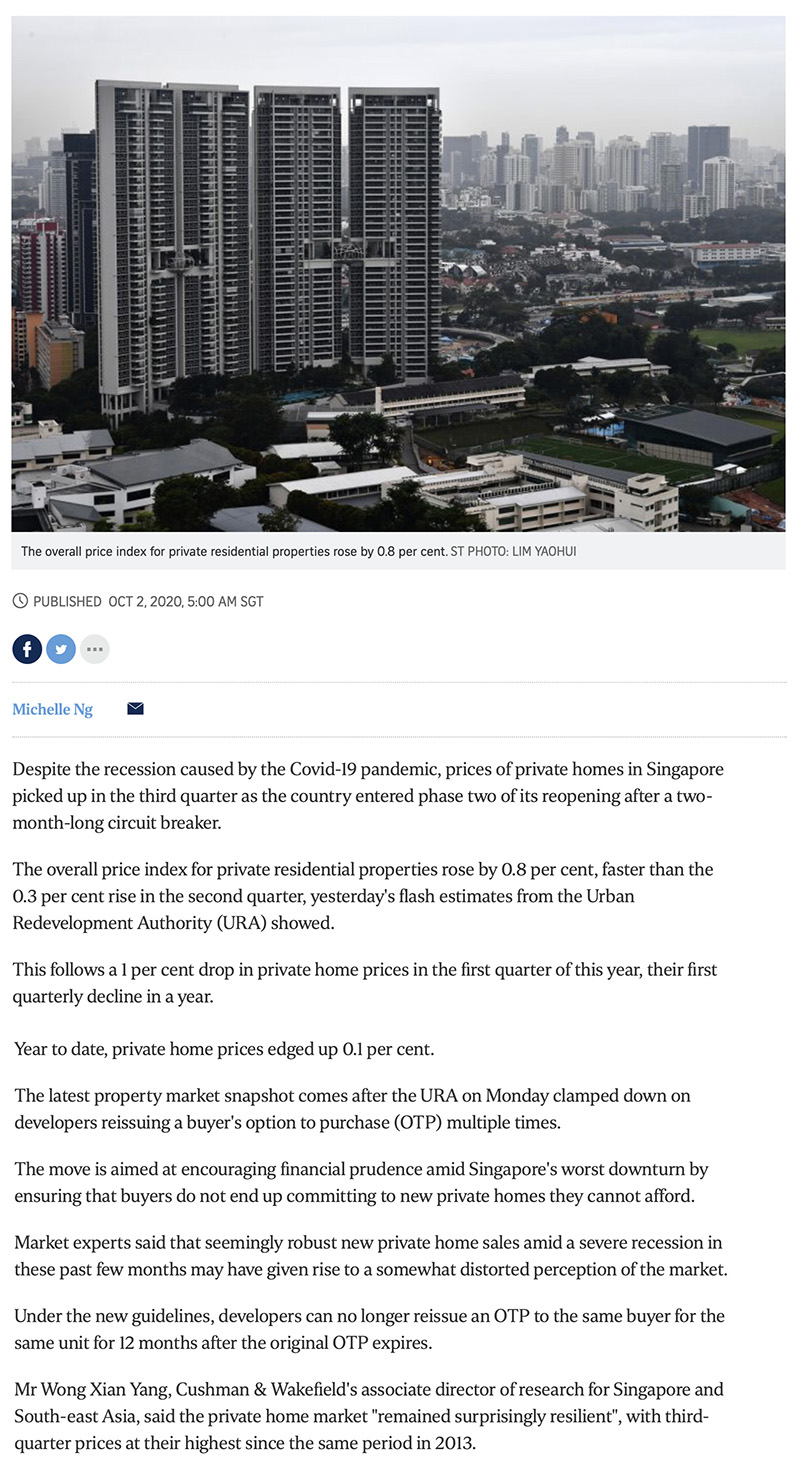 Private home prices rise faster in Q3 despite Covid-19 recession 1